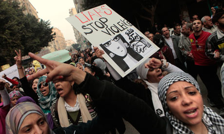 Egyptian women protesting during a recent anti-sexual harassment protest, prior to the release of the anti-sexual harassment law.