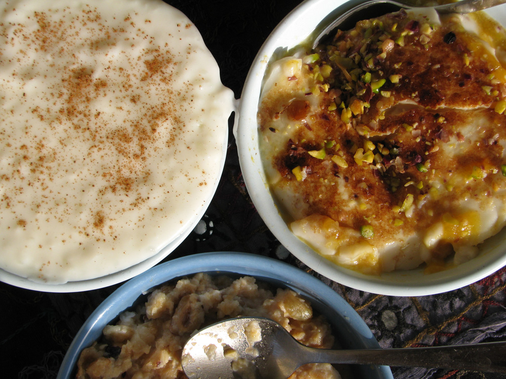 Qara' 'Asaly with Umm Ali and rice pudding.
