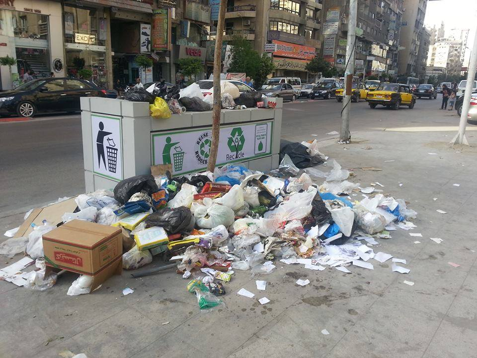 The day after a new rubbish bin was installed on Alexandria's streets.