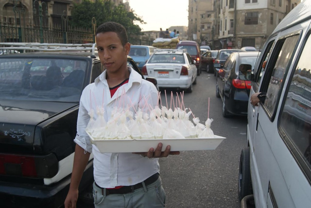 Sugar cane juice in a bag for people stuck in Cairo's tremendous traffic jams.