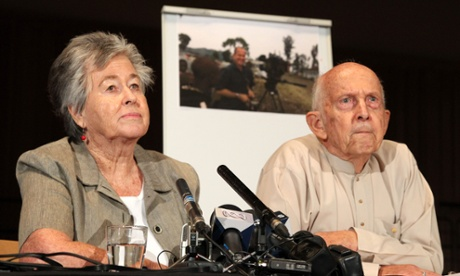 Lois and Juris Greste, the parents of Peter Greste, during a conference in Brisbane.