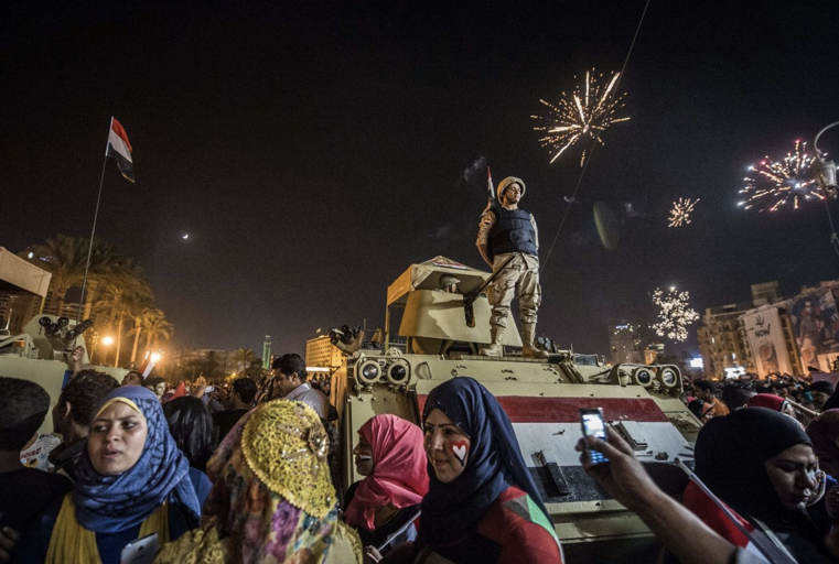 Celebrations yesterday after the Presidential elections committee announced Sisi as Egypt's President.