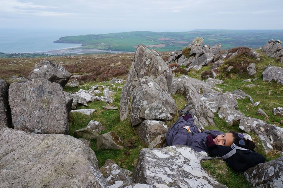 Taking a nap during a walk up Carningli mountain in Pembrokeshire, Wales.