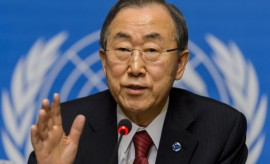 U.N. Secretary General Ban Ki-moon giving a speech at a press conference in Geneva.