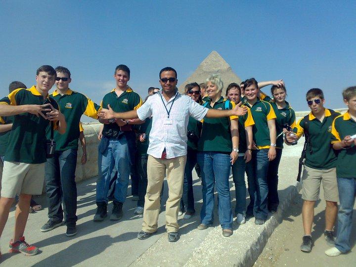 Australian tourists visiting the Pyramids.