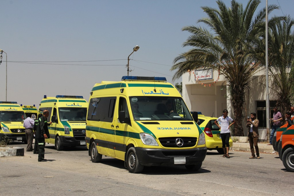 Ambulances on stand by at the Rafah border crossing