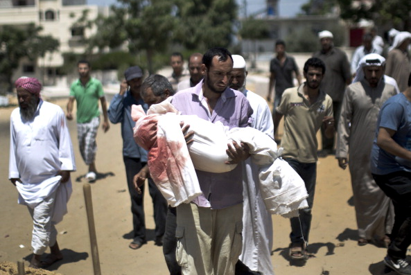 Palestinian mourners carry the body of five-year-old boy Abdallah Abu Ghazal during his funeral in the northern Gaza town of Beit Lahiya on July 10, 2014 after he was killed in an Israeli air strike.