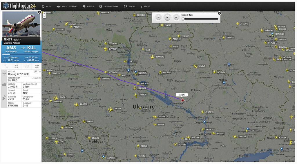 A flight tracker of MH17 which was carrying at least 295 passengers shows where it has crashed.