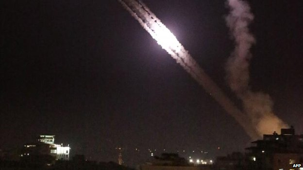 Rockets fired from Gaza towards Israel as Israeli forces commence a ground invasion.