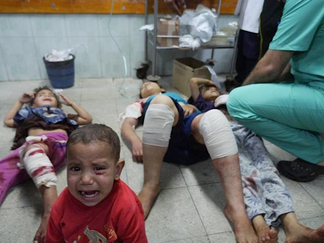 Children being treated in hospital following Israel's attack on a UNRWA shelter. Source: Sean Swan on Twitter