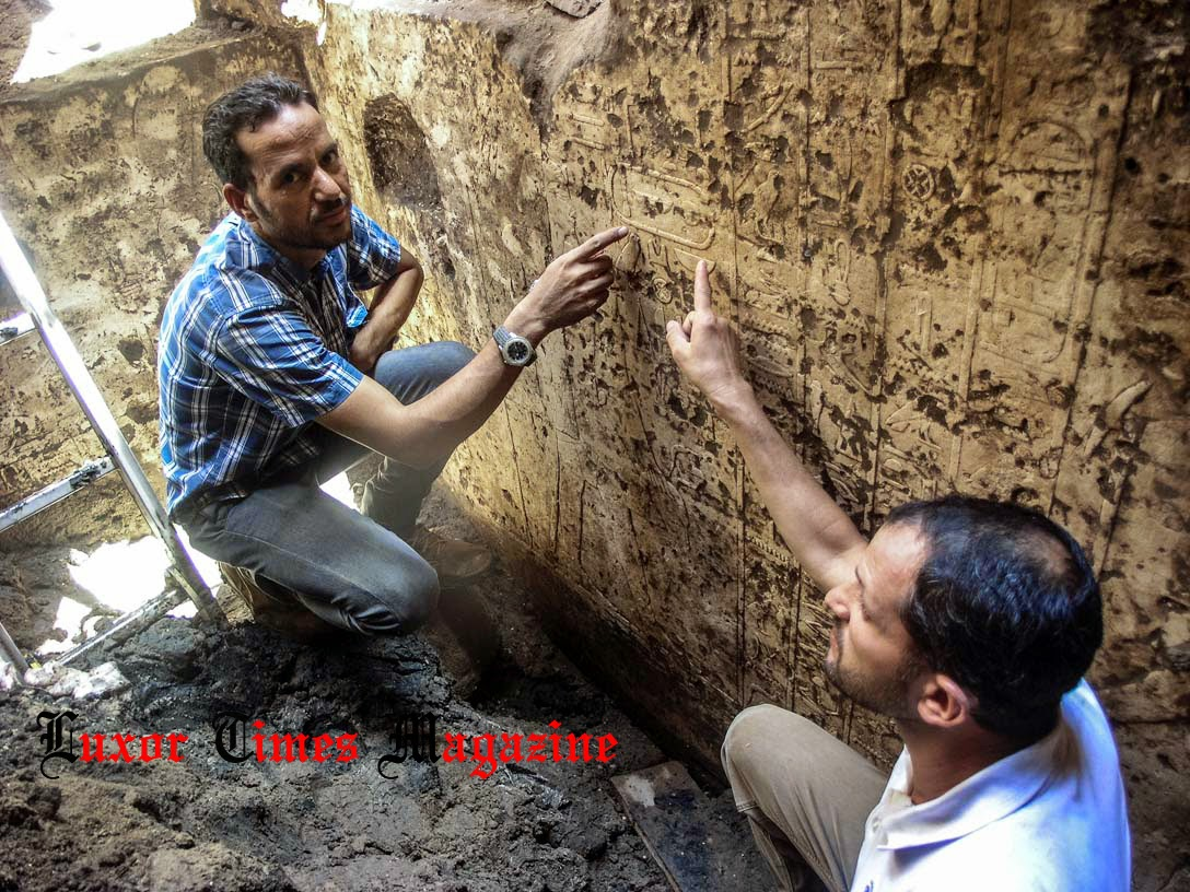 Archaeologists Ayman Damarany and Yasser Abd El Razik in the chapel. Credit: Luxor Times Magazine