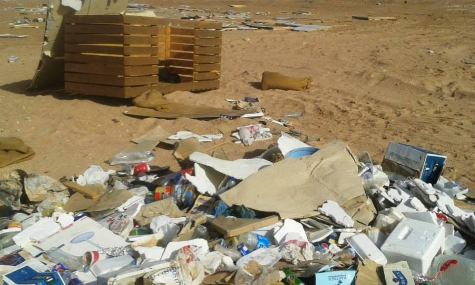A photograph circulated by environmental activists in Sharm El-Sheikh of trash allegedly left behind by Muhammad Fuad and his team