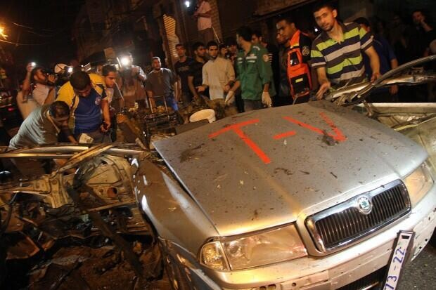 Car of journalists targeted by an Israeli missile strike in Gaza.