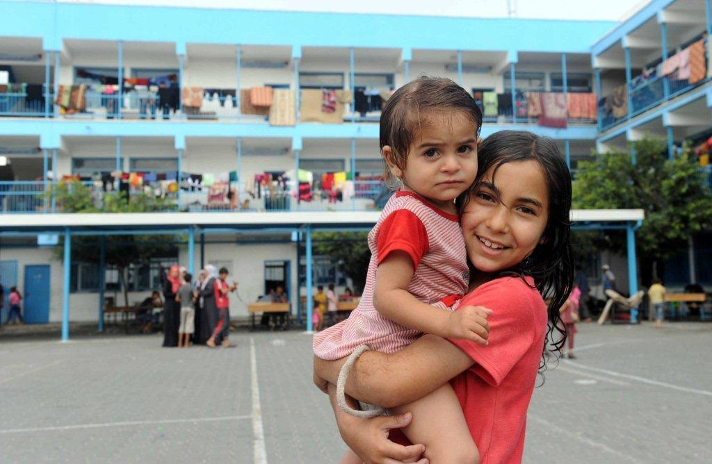 Children at a school-turned shelter in UNRWA. Credit: UNRWA