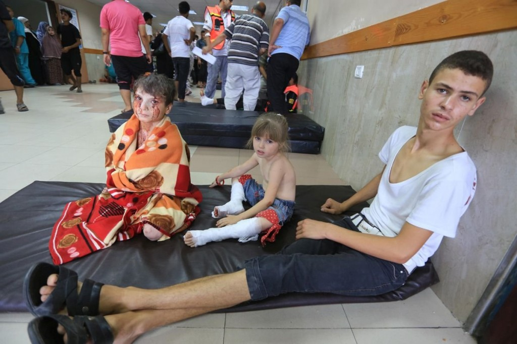 Children in hospital on July 20 after receiving treatment for their injuries.