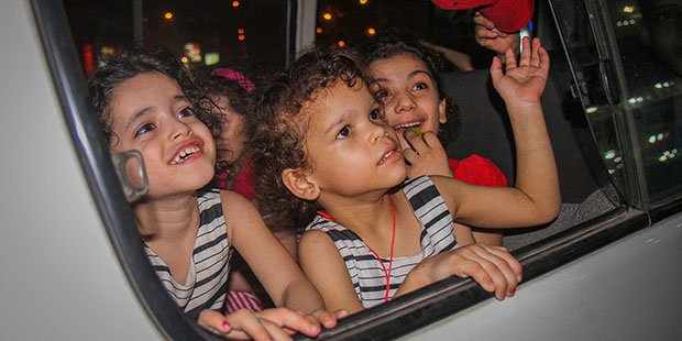 The orphange children being transferred to Dar Al Orman Charity. Photo: YOUM7/Kareem Abdul Kareem