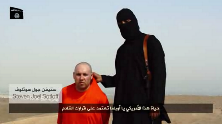 Still of another captured American journalist, Steven  Sotloff, who the hooded militant warns 'is next'