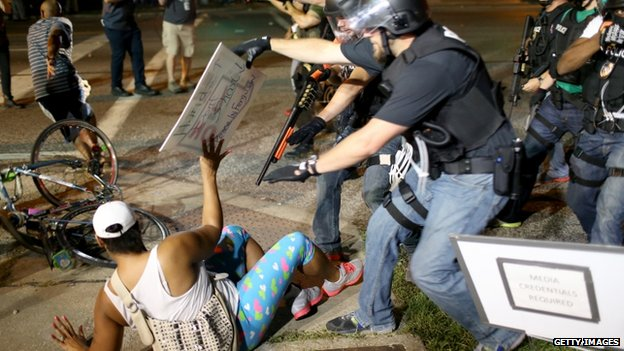 Officers made several arrests on Monday night as the violence escalated.