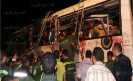 Scene of the bus crash  near Sharm El-Sheikh. Credit: AMAY