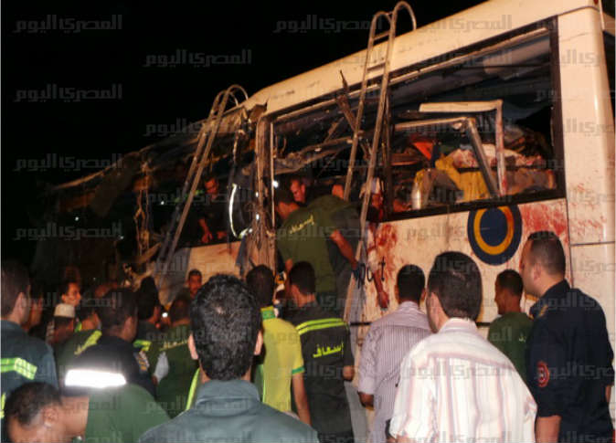 Scene of the bus crash  near Sharm El-Sheikh. Credit: AMAY