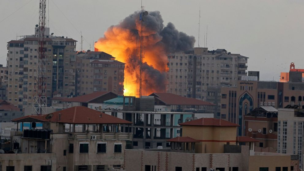 Israel air-strike targets a 44-level apartment in Gaza City earlier this week.