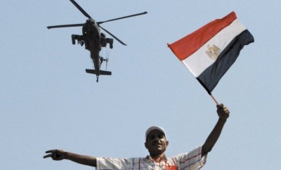 A military helicopter over Tahrir Square in 2013
