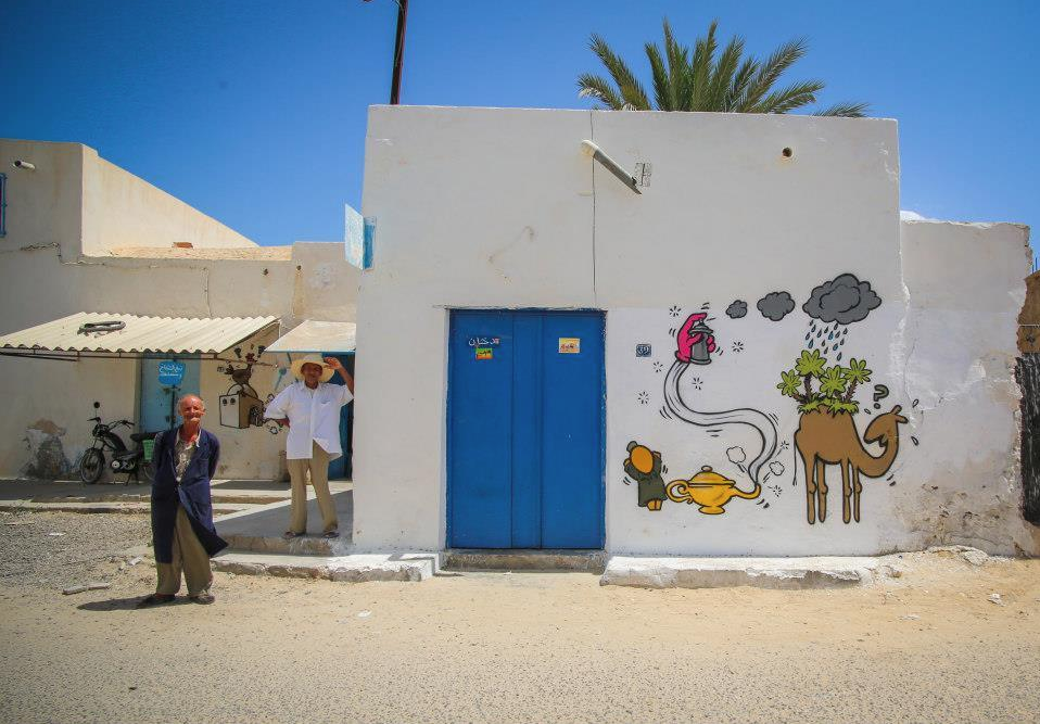 "150 artists of 30 nationalities ""leave their mark"" on building walls of Erriadh village. Photo by Aline Deschamps"
