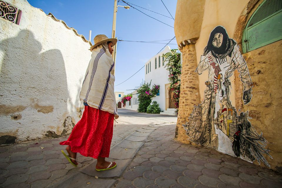 Between June and September, a group of artists come to Djerbahood, small groups of artists staying a week at a time, and work during their stay. Photo by Aline Deschamps