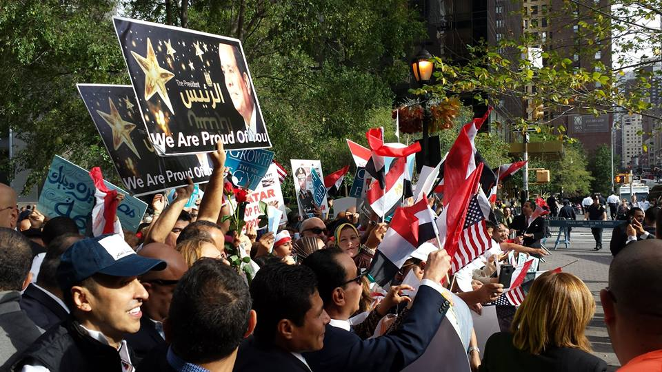 Egyptians gather near the United Nations in support of President Sisi