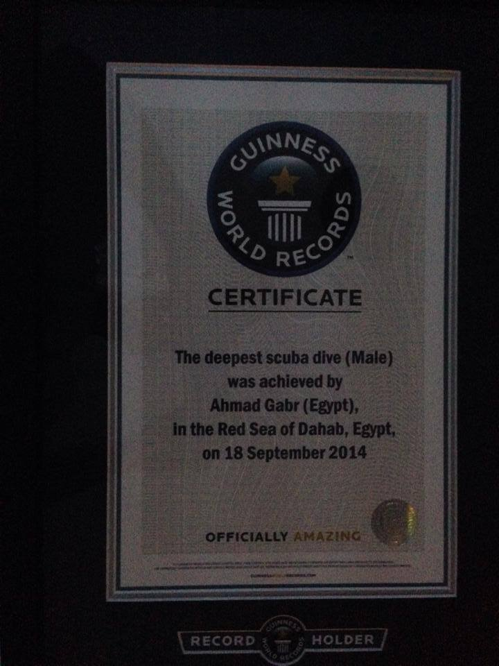 The Guinness World Records certificate awarded to Ahmed Gabr for the deepest scuba dive (Male).