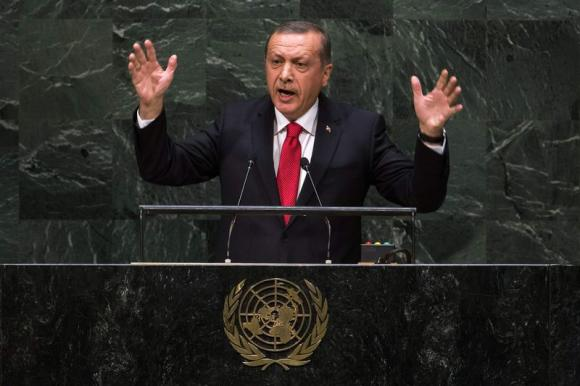 Turkey's President Recep Tayyip Erdogan addresses the 69th United Nations General Assembly at the UN headquarters in New York, September 24, 2014. CREDIT: REUTERS/LUCAS JACKSON