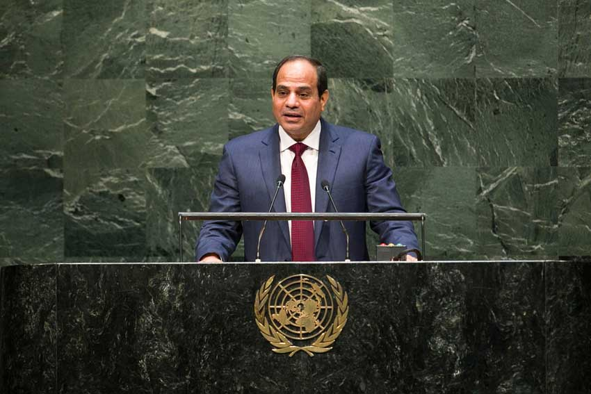 Egyptian President Abdel Fattah Al-Sisi addresses the 69th Session of the General Assembly.
