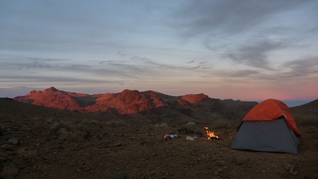 Camping in the mountains; sunset on the Jebel Katherina highlands.