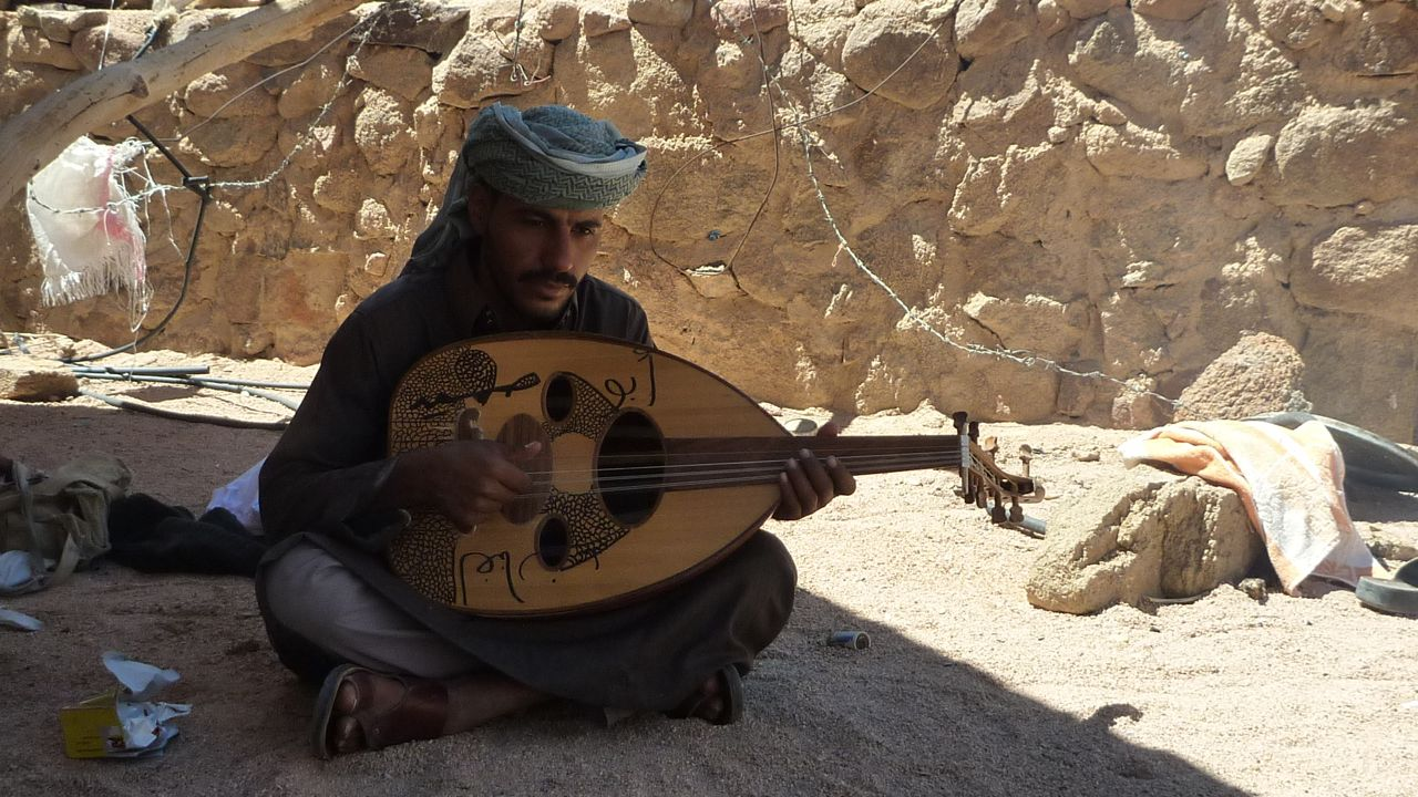 A Bedouin musician of the Gararsha tribe, near Wadi Feiran.