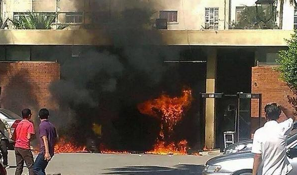 Electronic gates torched at Alexandria University on Monday. Credit: Hassan Mahrous
