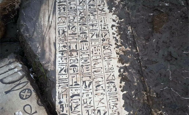 One of the ancient items found scribed with hieroglyphics. Credit: Ahram