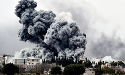 Smoke engulfs Kobane last week.