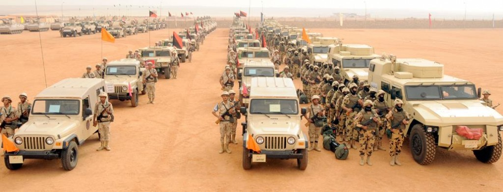 Part of the military force deployed in Egypt's North Sinai following recent attacks that killed at least 33 soldiers in October 2014.