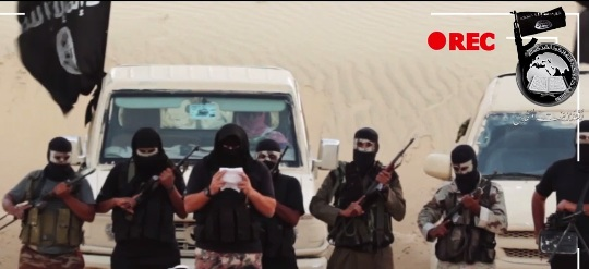 A snapshot from a video released on Twitter by Ansar Bayt al-Maqdis on August 28, 2014.