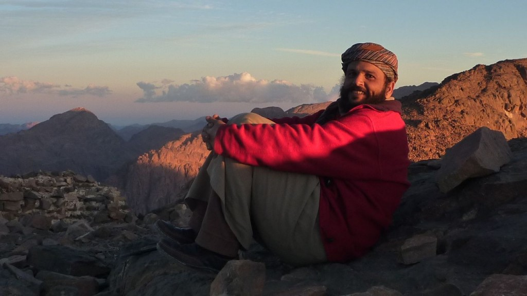 Abu Omar, a local Bedouin guide on the hike, on Jebel Abbas Basha