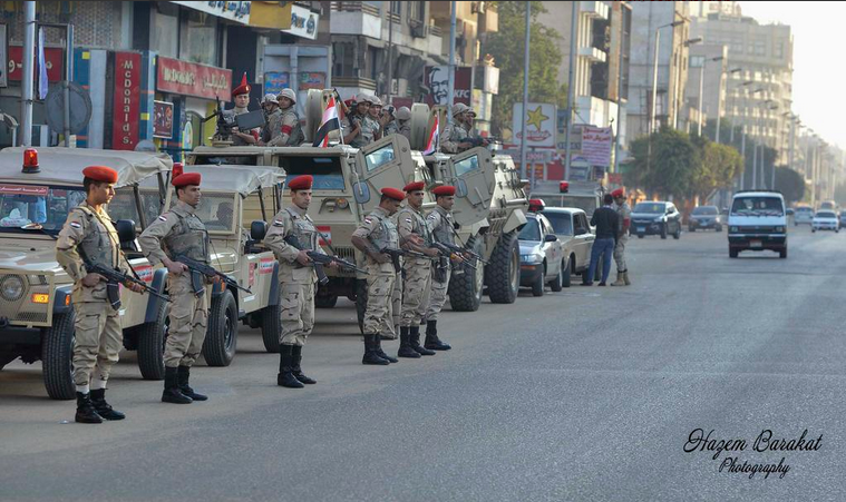 Military forces deployed on Cairo's streets. Credit: Hazem Barakat.