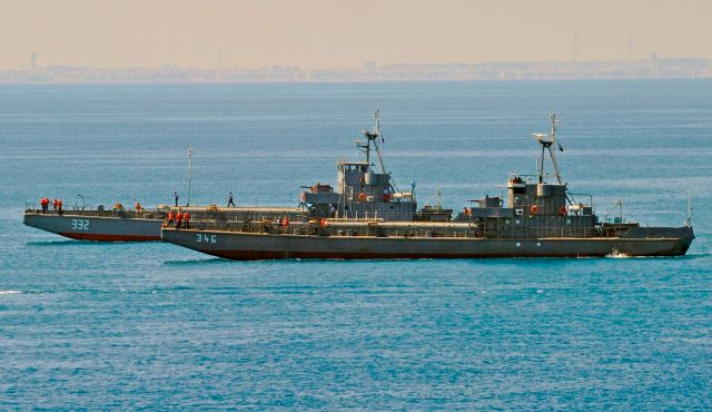 Two Egyptian navy amphibious landing craft pictured in 2009.