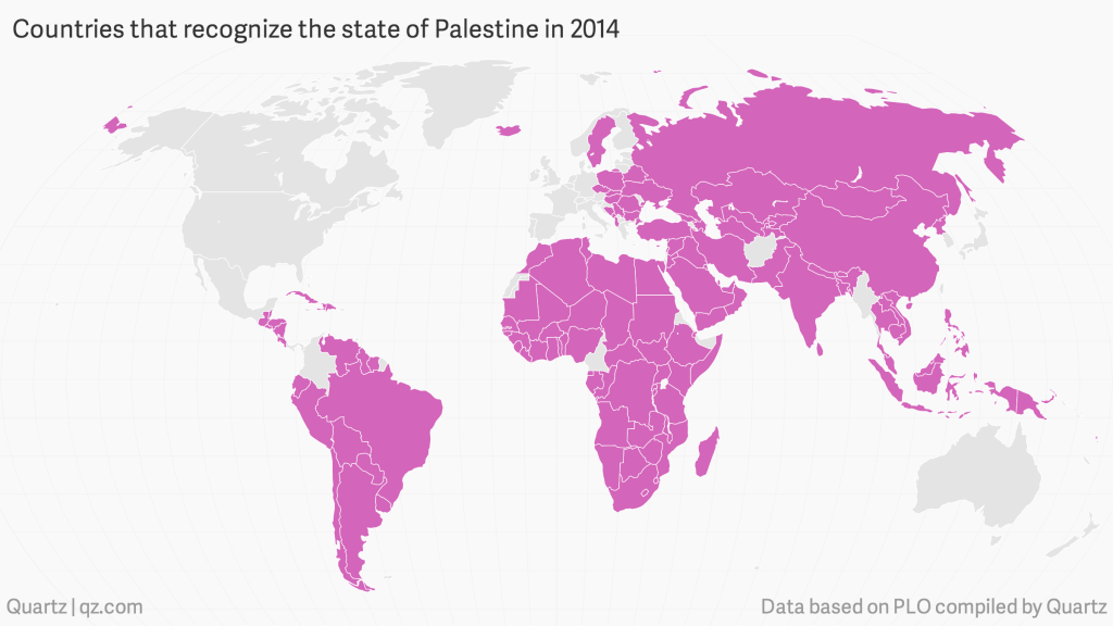 All the countries that recognize Palestine (Credit: Quartz)