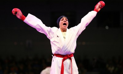 Egyptian Shymaa Abouel Yazed celebrates after winning gold.