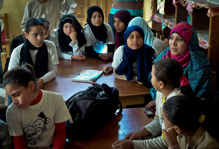 Students in Abdullah Elewa village in Fayoum. Photo by Hussein Tallal