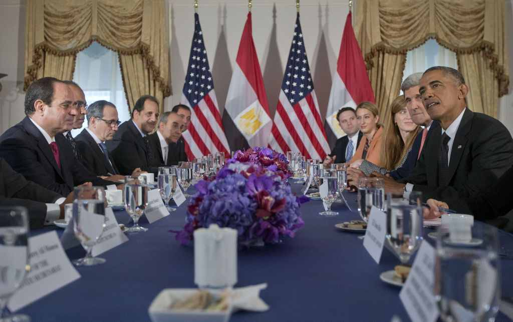 Egyptian President Sisi and US President Obama meet at the United Nations in September 2014.