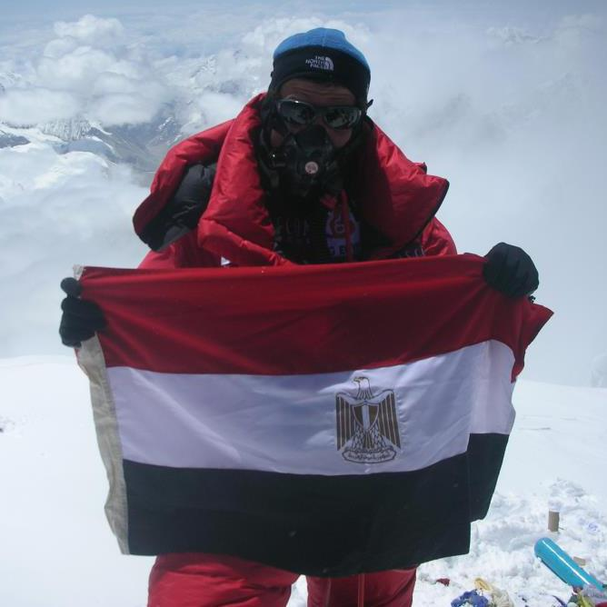 Omar Samra on top of Mount Everest in 2007