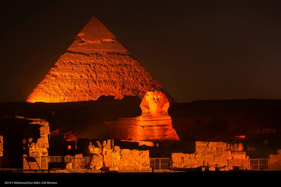 Egypt's Pyramids and Sphinx lit in orange as part of universal campaign to end GBV on Wednesday, December 10, 2014. Courtesy of UN Women in Egypt's official Facebook page.
