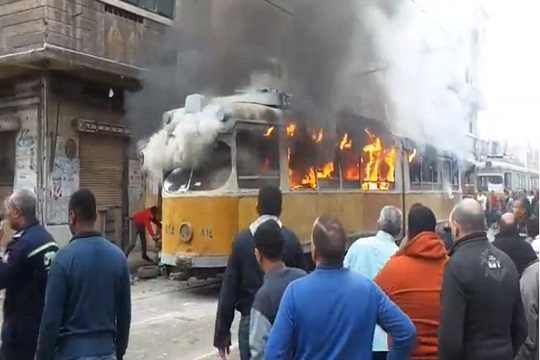 Tram in Alexandria torched.
