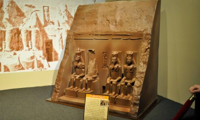 Chocolate Abu Simbel temple sculpture in Orlando chocolate museum. Credit: Cairo Chocolate Museum
